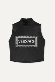 Versace Printed stretch-jersey turtleneck top