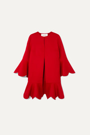 Valentino Ruffled wool and cashmere-blend coat