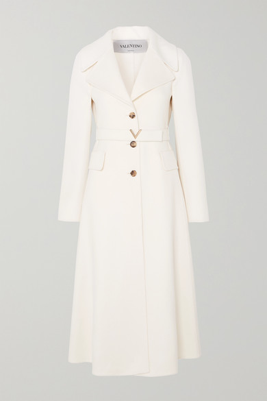 Valentino Belted Cashmere Coat In Ivory