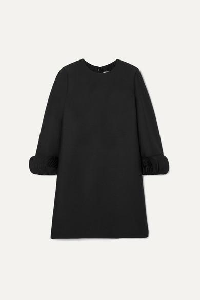 VALENTINO | Valentino - Silk Satin-Trimmed Wool And Silk-Blend Mini Dress - Black | Goxip