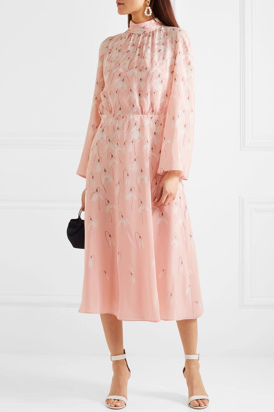 Valentino Floral-print silk crepe de chine midi dress