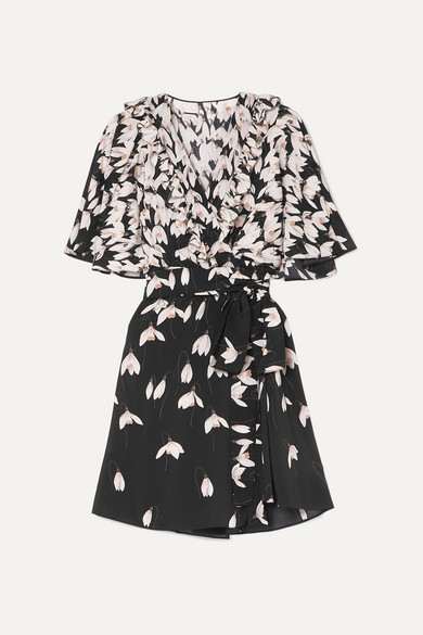 Valentino Ruffled Floral-Print Silk Crepe De Chine Mini Wrap Dress In Black