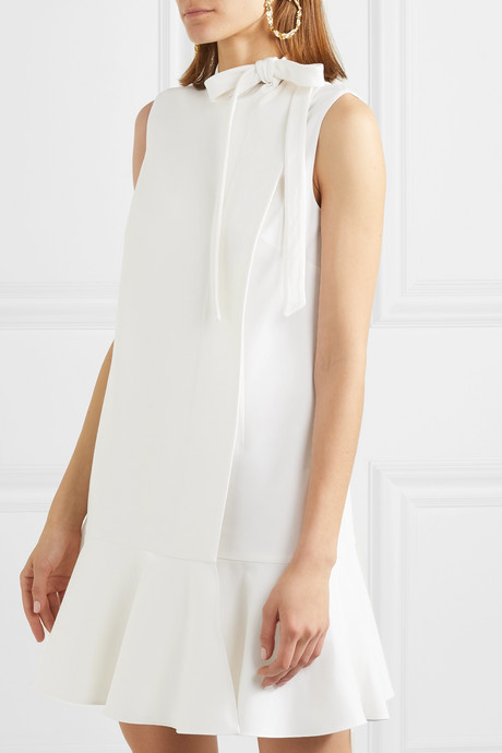 Bow-detailed ruffled wool-blend crepe mini dress
