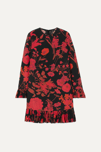 Ruffled Floral Print Silk Crepe De Chine Midi Dress by Valentino