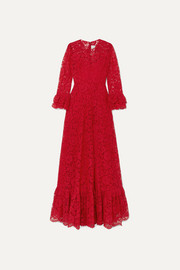 Valentino Ruffled guipure lace gown
