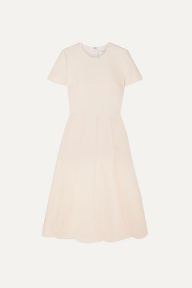 VALENTINO | Valentino - Pleated Wool And Silk-Blend Grain De Poudre Midi Dress - Ivory | Goxip