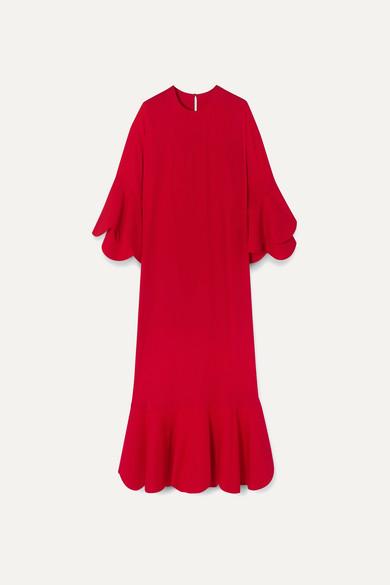 VALENTINO | Valentino - Ruffled Crepe Gown - Red | Goxip