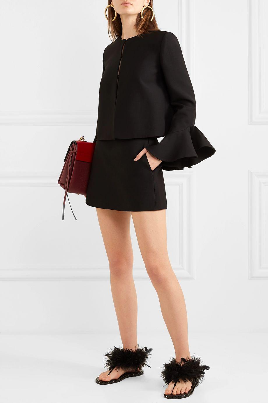 Valentino Ruffled wool and silk-blend jacket