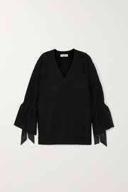 Valentino Oversized satin-trimmed wool sweater
