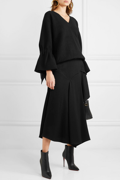 Oversized Pullover Aus Wolle Mit Satinbesatz by Valentino