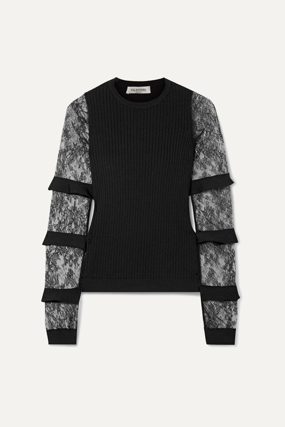 Valentino Ruffle-trimmed lace and ribbed-knit sweater