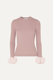 Valentino Silk georgette-trimmed ribbed stretch-knit sweater