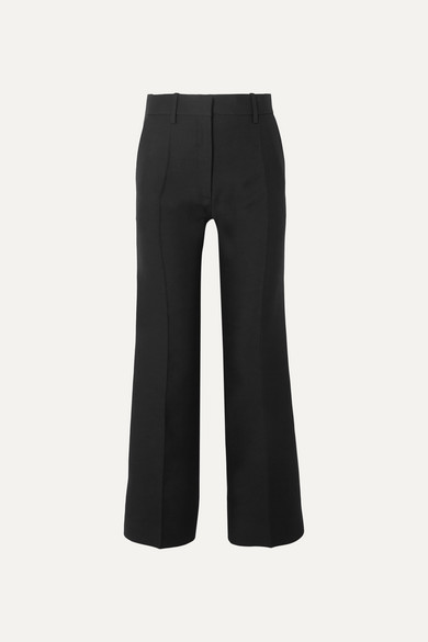 VALENTINO | Valentino - Wool And Silk-Blend Straight-Leg Pants - Black | Goxip