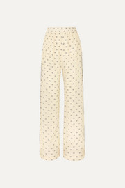 Piped printed silk crepe de chine pants