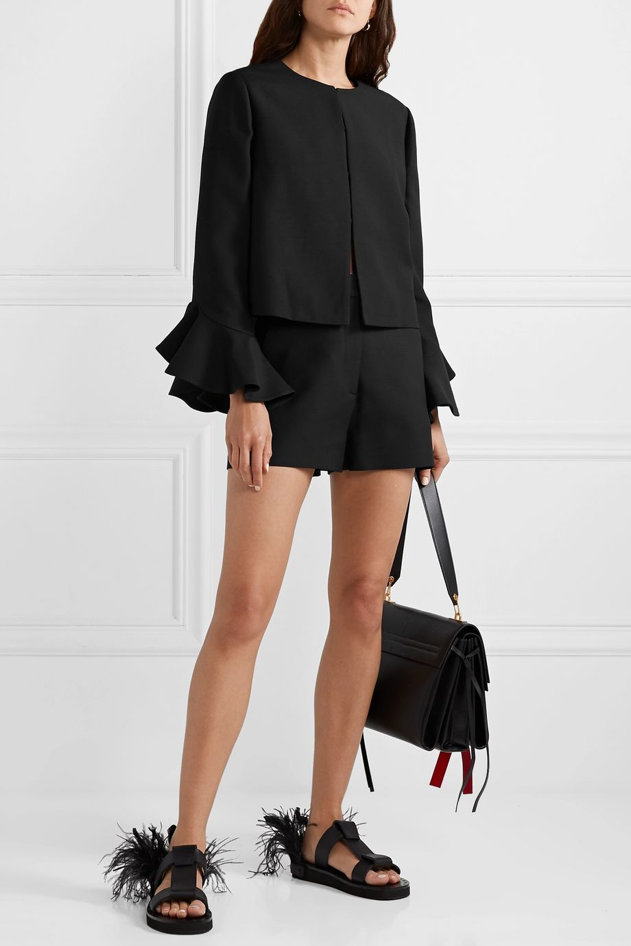 Valentino Wool and silk-blend crepe shorts