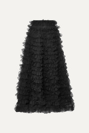 Valentino Tiered ruffled chiffon maxi skirt