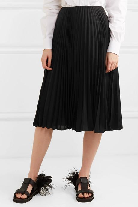 Pleated silk midi skirt