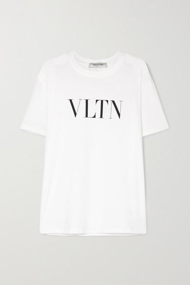 VALENTINO | Valentino - Printed Cotton-Jersey T-Shirt - White | Goxip