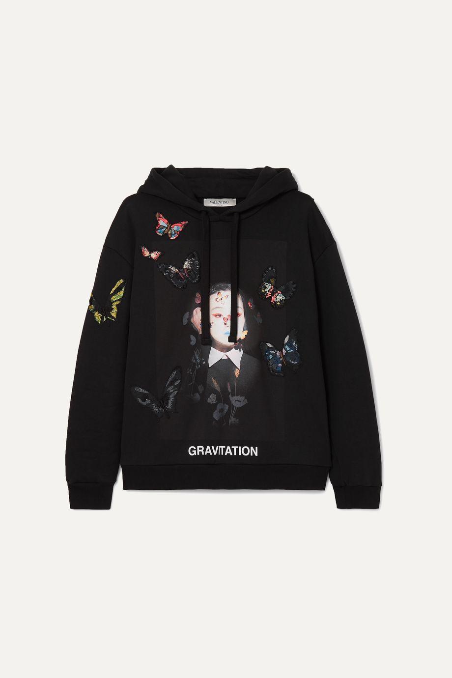 Valentino + Izumi Miyazaki Gravitation printed appliquéd cotton-blend jersey hoodie