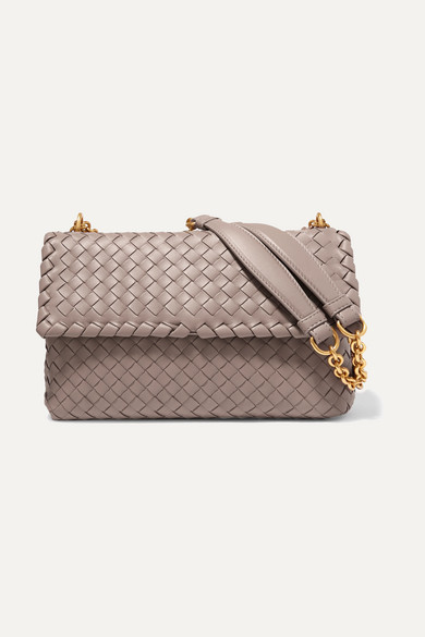BOTTEGA VENETA | Bottega Veneta - Olimpia Small Intrecciato Leather Shoulder Bag - Gray | Goxip