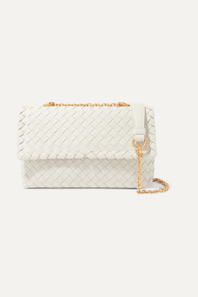 BOTTEGA VENETA | Bottega Veneta - Olimpia Mini Intrecciato Leather Shoulder Bag - Off-White | Goxip