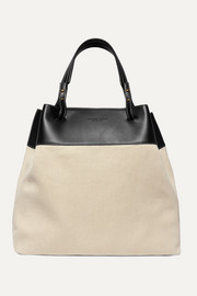 Large leather-trimmed linen tote
