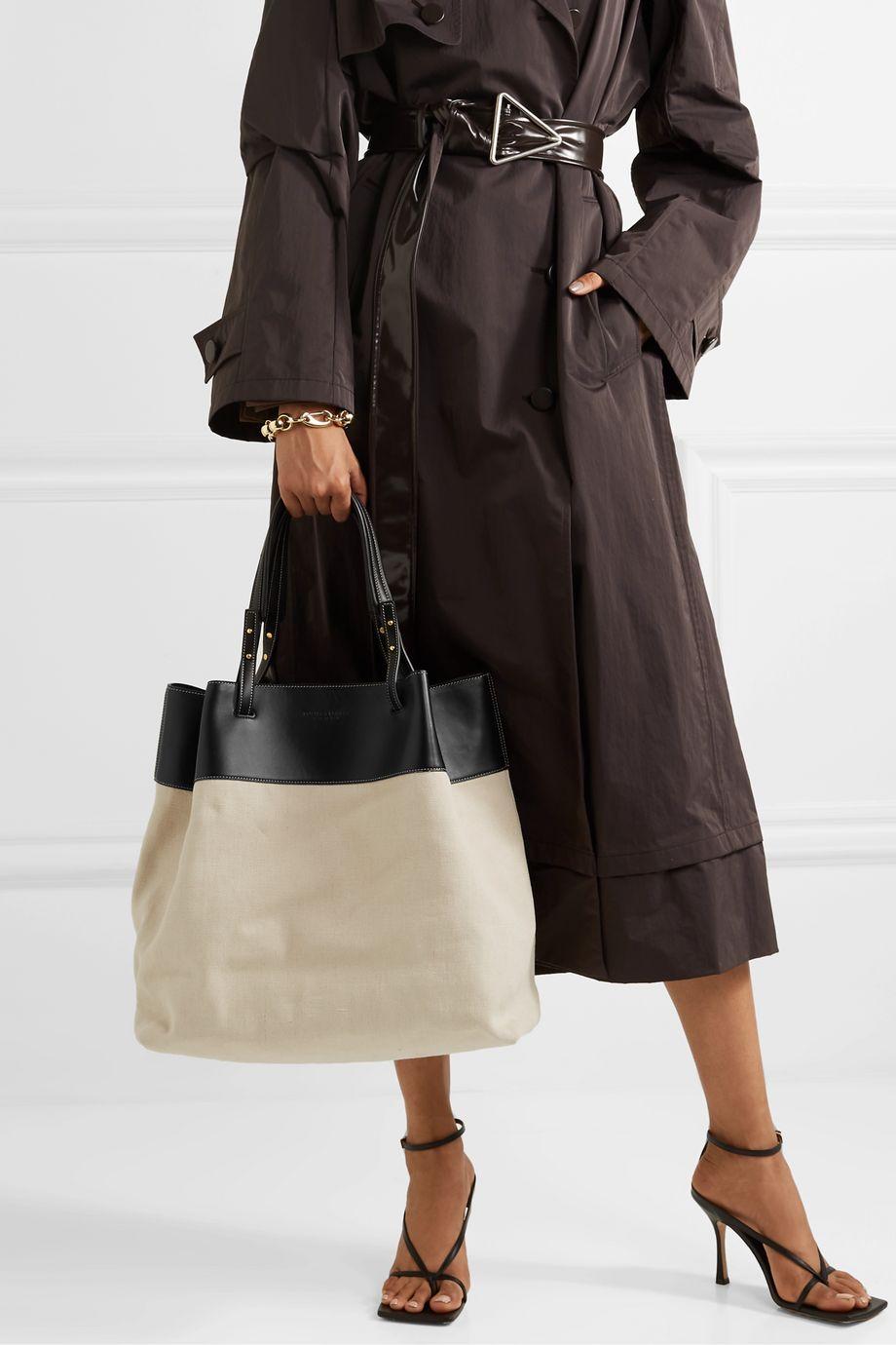 Bottega Veneta Large leather-trimmed linen tote