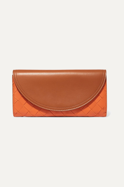 Bottega Veneta 双色 Intrecciato 皮革长款钱包