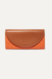 Two-tone intrecciato leather continental wallet
