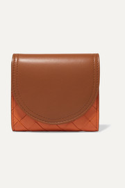 Two-tone intrecciato leather wallet