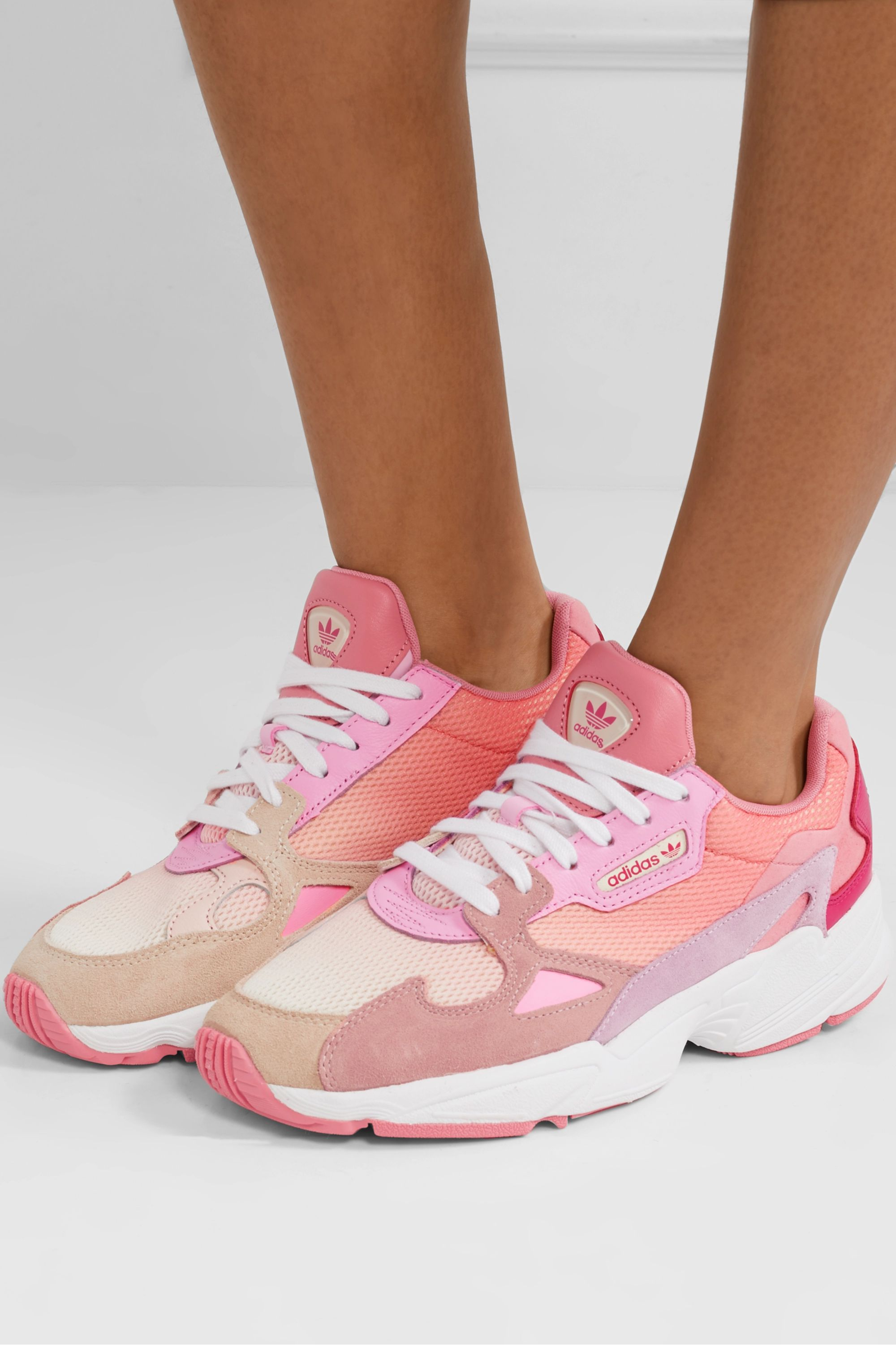 chocar Adviento demanda  Pink Falcon mesh, suede, leather and felt sneakers | adidas Originals |  NET-A-PORTER