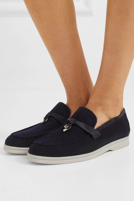 Summer Charms suede-trimmed cashmere loafers