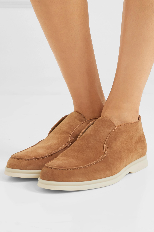Tan Open Walk suede loafers | Loro