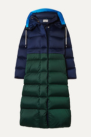 Tory Sport Two-tone quilted shell down coat