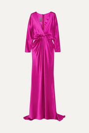 Wrap-effect draped silk-satin gown