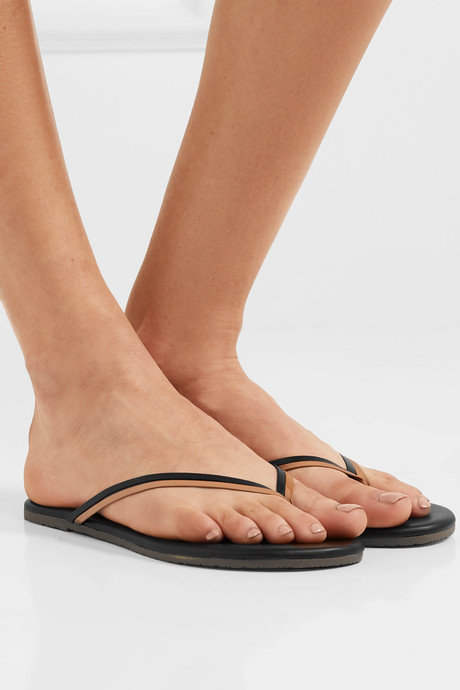 Duos two-tone leather flip flops