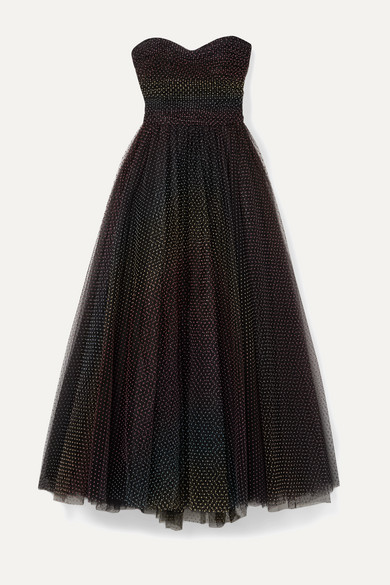 Monique Lhuillier Dresses Ruched polka-dot flocked tulle gown