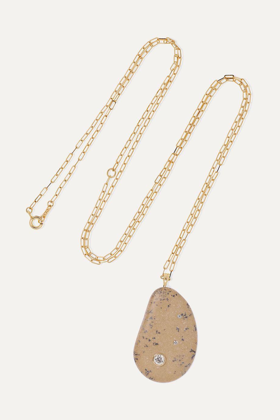 CVC Stones Fierce Kette aus 18 Karat Gold mit Kieselstein und Diamanten