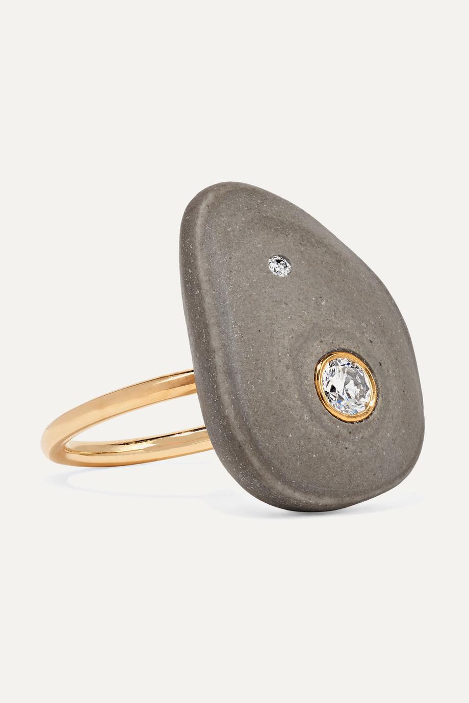 CVC Stones El Chichon 18-karat gold, stone and diamond ring