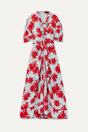 Proenza Schouler Pussy-bow floral-print georgette midi dress