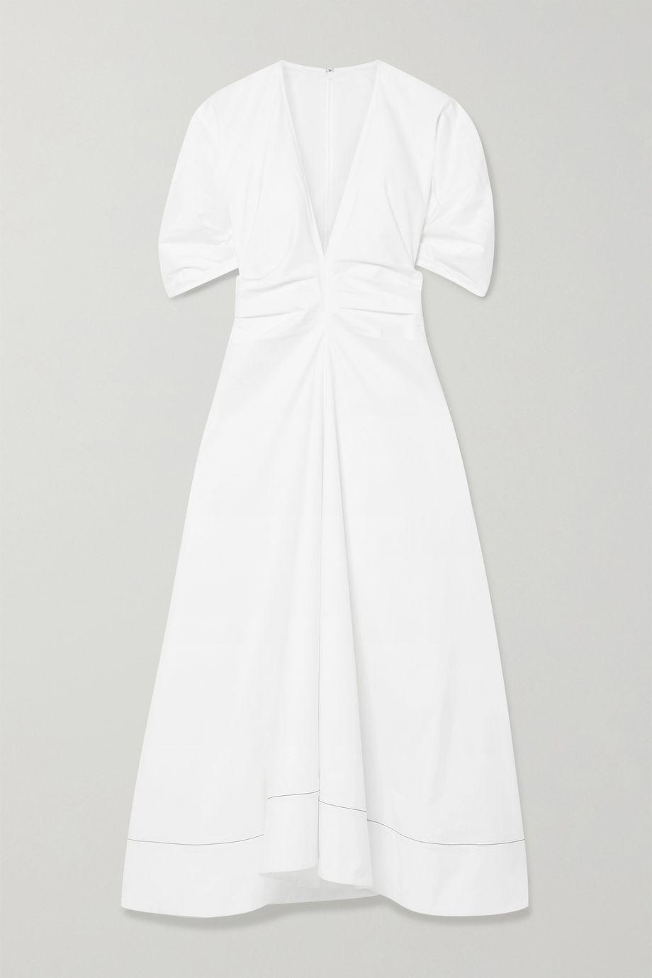 Proenza Schouler Gathered stretch-cotton poplin midi dress