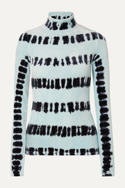 Proenza Schouler Tie-dyed stretch-velvet turtleneck top