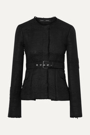 Proenza Schouler Belted frayed tweed jacket