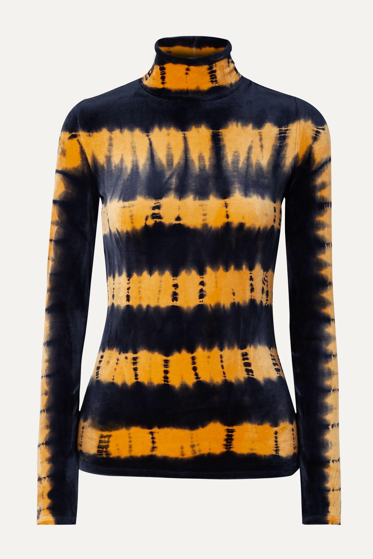 Proenza Schouler Tie-dyed stretch-velvet turtleneck top