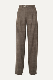 Proenza Schouler Belted pleated checked wool-blend wide-leg pants