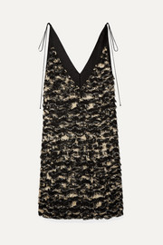 Proenza Schouler Satin-trimmed fringed crepe dress