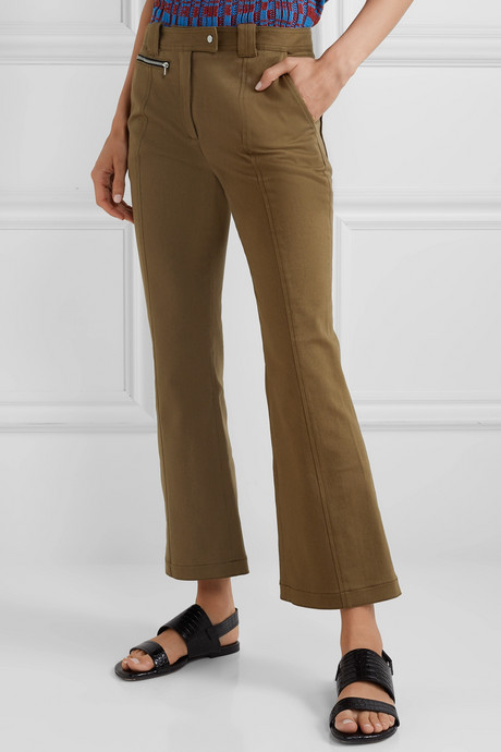 Cropped cotton-blend twill flared pants