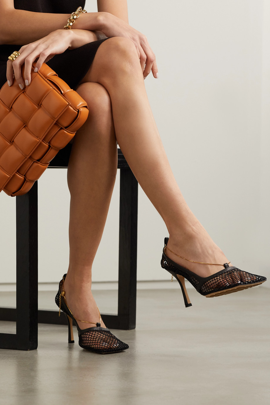 Bottega Veneta Embellished leather-trimmed mesh pumps