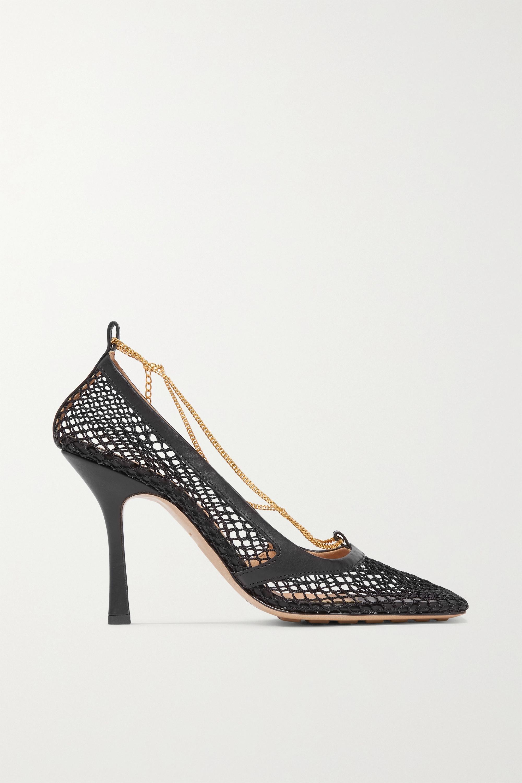 Bottega Veneta 带缀饰皮革边饰网眼高跟鞋