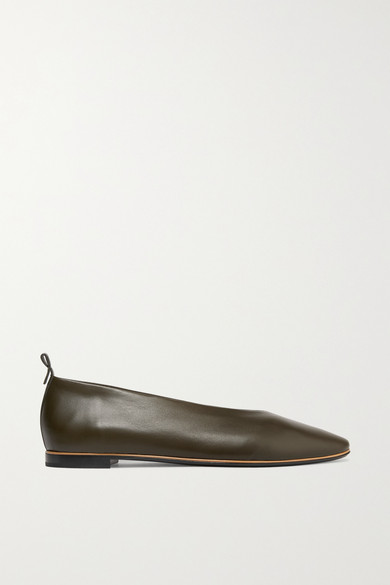 BOTTEGA VENETA | Bottega Veneta - Leather Ballet Flats - Army Green | Goxip